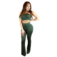 Wholesale Plus Size Women S Boots - Wholesale- New 2016 Summer Black And Army Green Two Piece Jumpsuit Long Boot Cut Sexy Club bandage Plus Size Women Rompers And Jumpsuits