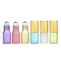 ingrosso perle liquide-3ML Roll On Bottle Pearl Luster Colors Rollon Metal Roller Ball Bottle Olio essenziale fragranza liquida