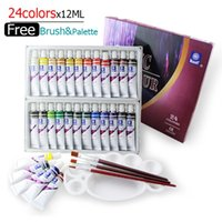 Wholesale Drawing Water Colors - Water-resistant 24 Colors 12ML Tube Acrylic Paint set color Nail glass Art Painting paint for fabric Drawing Tools For Kids DIY
