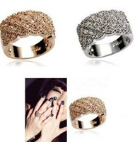 Wholesale Sparkling Diamond Rhinestone - Luxury sparkling full crystal diamond ring width crystal ring gold and silver alloy whoelsale free shipping