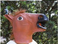 Wholesale Horse Head Mask Latex Free - Creepy Horse Mask Head Halloween Costume Theater Prop Novelty Hot Sales Head Latex Rubber Party Masks Free Shipping