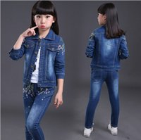 Wholesale Children Clothes Coat Blue Denim - Children sports suit spring autumn girls clothing set kids denim coat long sleeve t shirt & jeans 2pcs girls clothes set