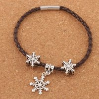 Wholesale Snowflakes Wrap - Snowflake Charm Leather Wrap Woven Bracelet 20pcs lot Silver Plated Clip Clasp Wristband Christmas European Bangle BB60 8""