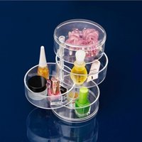 Wholesale Transparent Crystal Jewelry Box Wholesale - Jewelry Box Creative Trendy Round Four Layers Boxes Transparent Crystal Make Up Storage Case Durable Bright Coloured Hot Sale 17xx I1 R