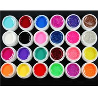 Wholesale Uv Gel Color Set 24 - Art Nail Gel 24 Pcs Mix 12 Pure 12 Glitter Color UV Builder Gel For Nail Art Fasle Tips Set
