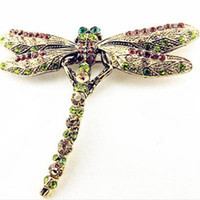 Wholesale Dragonfly Pin Girl - 2017 New Fashion Summer Jewelry Accessories Brooch For Girl Vintage Lovely Dragonfly Crystal Scarf Lapel Pin Brooches For Women