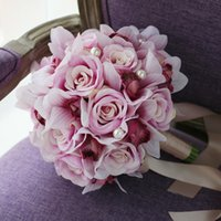 Wholesale Silk Champagne Bridal Bouquets - Elegant Purple Champagne Rose Wedding Supplies Bridal Bouquets 2017 Pearls Artifical Cymbidium Garden Forset Wedding Decoration Flowers