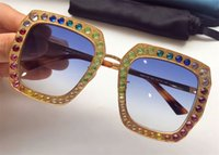 Wholesale Mosaic Wrap - New fashion designer women sunglasses 0115 metal square frame mosaic shiny crystal colorful diamond top quality UV400 lens with original box