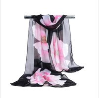 Wholesale Cheap Ladies Scarfs - Factory Cheap Woman Scarf Silk Brand Luxury Print Flower Polyester Ladies Chiffon Scrawl Flower Printed Wrap Scarf 160*50cm