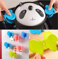 kelebek cihazı toptan satış-Sevimli Kelebek Şekilli Silikon Anti-Haşlanma Aygıtı Mutfak Aracı Gadget 4 Renkler