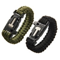Wholesale Survival Bracelet Whistle Clasp - Outdoor Camping Men Bracelet Rescue Paracord Parachute Cord Wristbands Emergency Rope Flint Scraper Whistle Buckle Survival Kits