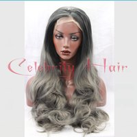 Wholesale Long Grey Wig Heat Resistant - Ombre Silver Grey Big Body Wave Synthetic Lace Front Glueless Long Off Black Gray Heat Resistant Hair Wigs For Black Women