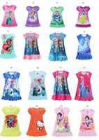 Wholesale White Cotton Nightgowns Wholesale - 16 Styles Summer girls dresses Elsa Anna Mermaid Sofia Snow White Minnie kids pajamas polyester nightgowns sleepwear clothes