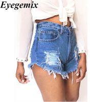 Wholesale High Waist Pants Shorts - Fashion Women Jeans Denim Ripped Shorts Casual Solid High Waist All-match Summer Sexy Short Pants Plus Size 3XL