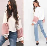 Wholesale Knitwear Winter Womens - Womens Casual Loose Winter Fall Fuzzy Plush Long Sleeved Sweaters Sweatshirts Knitwear Jumper Tops
