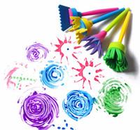 Wholesale Sand Art For Kids - Wholesale- 4pcs set Creative Flower Stamp Sponge Brush Set Art Supplies for Kids DIY Painting Tools drawing toys
