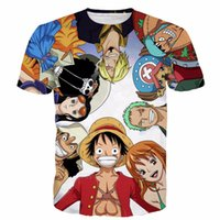 tek parça karakter toptan satış-Toptan-Yeni Moda Erkek Kadın Yaz Rahat tişörtlerin One Piece Karakterler 3D t gömlek Anime Luffy t shirt tees tops