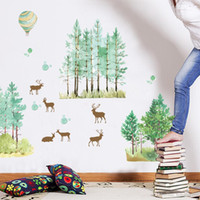Wholesale background forest - Wall Stickers Forest Fawn Pastoral Style Background Decor Mural PVC Eco Friendly Elegant Fashion Concise Decal 3 8jm J R