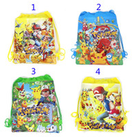 Wholesale Turtles School Bag - Poke go Pikachu drawstring Bags 4 style NEW Children cartoon Jeni turtle Sylveon Poke Ball Backpacks non-woven fabrics School Bags B