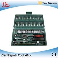 "Wholesale Car Spanner Tool Set - 46pc Spanner Socket Set 1 4"" Car Repair Tool Ratchet Wrench Set Cr-v hand tools Combination Bit Set Tool Kit"