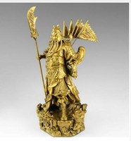 "Wholesale Wood Carving Dragons - brass Chinese bronze brass Nine Dragon Warrior Guan Gong  Yu Statue Figure10""H Yellow Sculpture wholesale factory Bronze Arts decoration"