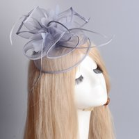 Wholesale dress handmade china - New Tiaras Crowns Party Women Ladies Hair Accessory Clip Fascinator Feather Hat Handmade Grey Hairpins Wedding Bridal Fancy Dress Cocktail