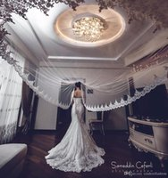 Wholesale Lace Head Accessories - Hot Sale White Ivory Applique Tulle 3 Meters Long Bridal Head Veils With Comb Wedding Accessories Lace Bridal Veil veu de noiva CPA068
