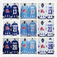 Quebec Nordiques 13 Mats Sundin 19 Joe Sakic 21 Peter Forsberg 26 Peter  Stastny Ice Hockey Jerseys Dark Blue Light Blue White Jersey ... 0152b6418
