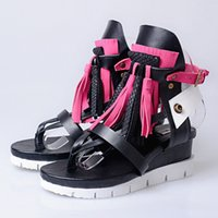 Flat Heel sport flip flops for women - Handsome Punk Style For Cool Ladies Sponge Cake Tassels Platform Wedge Sandals Pastoral Flip Flop Rome Shoes