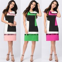 Wholesale Women Daily Work Dress - Women Daily Shift Dress Party Summer 2017 O Neck Pacthwork Vestidos Sheath Contrast Sequined Mini Robes Casual Prom Work Dress Short Sleeve