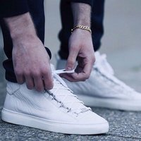 Wholesale new causal mans leather shoes white for sale - Group buy Drop Shipping Designer Shoes New High Top Fashion Man Causal Arena Shoes Snake Skin leather White Red Black Wrinkled leather