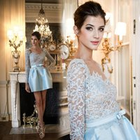 Wholesale Homecoming Dresses Zuhair Murad - Zuhair Murad 2018 Sexy Sheer Lace Long Sleeves Homecoming Dresses with See Through Taffeta Short Mini Skirt Cocktail Party Dresses