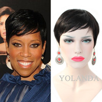 Wholesale Half Chinese - Half-Price Lace-cut Short bob human hair wigs with bangs 4inch Brazilian full lace wigs for black women