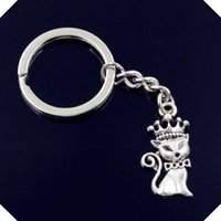 nuovo-fashion-men-30mm-keychain-DIY-metallo-porta-catena-vintage-cat-volpe-corona-15-30mm-chiave d'argento d'argento