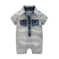 Wholesale Down Romper - Babies stripe romper 2017 summer new baby boys lapel denim jumpsuit fashion toddler kids cowboy climb clothes BeBe clothes T1639