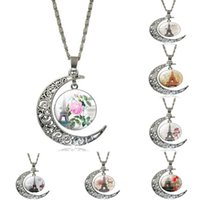 Wholesale Valentine Antique - Fashion Pierced Moon Pendant Necklace Dangle Tower Charms Antique Silver Plated Necklace For Women Jewelry Valentine Gift