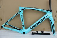 Wholesale Aero Carbon Fork - 5 color bianchi XR4 T1000 green aero bicycke carbon frame +seatpost+clamp+headset+fork carbon road frame with BB386 size 50cm 53cm 55cm 57cm