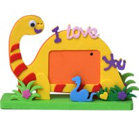 Wholesale Photo Toys - Wholesale- Kids Handmade EVA 3D Animal Photo Frame Children's Creative Stickers DIY Puzzles Toys For Boys&Girls Gift 731