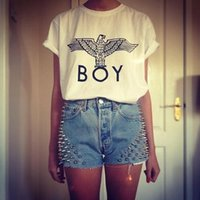 Wholesale Women T Shirt Boy London - Wholesale-New Harajuku Boy London T shirt Eagle Pattern GD Bigbang Cool Black Boy's Shirts Punk Boy London T-shirt