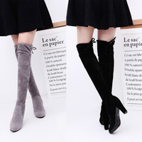 Wholesale Long High Heel Boots - New Women's Over Knee High Boot Lace Up high heel Long Thigh Boots Shoes