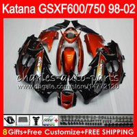 Wholesale Suzuki Gsxf Fairings - 8 Gifts For SUZUKI KATANA GSXF600 GSXF750 98 99 00 01 02 gloss black 7HM59 GSX750F GSX600F GSXF 750 600 1998 1999 2000 2001 2002 Fairing Kit