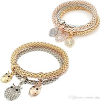 Wholesale Three Colours Rings - Fashion Jewelry bracelets 3 pieces set three-colour elastic crystal Bar Setting women bangle Owl heart Charm For bracelet jewelry Making