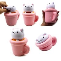Wholesale Squeeze Cup - 14X12cm Soft Jumbo Squishy Cup Cat Slow Rising Phone Strap Elastic PU Simulation Paper Cup Cat Squeeze Toy Kids Toy Random Color