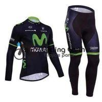 Wholesale Sets Movistar - Movistar 2014 #1 long sleeve cycling jersey pants bicycle bike riding cycling autumn wear clothes set+gel pad