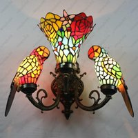 Wholesale Baroque Lamp - Baroque Art Color Glass Parrot Wall Lamp Bedroom Bedside Vintage Wall Lamp Tiffany Lamp Parrots Dia35cm Free shipping