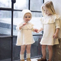 Wholesale Knitted Christmas Hats For Baby - Ins Knit dress for baby girl Ruffled collar Off-white Dresses with hat 2017 Autumn Spring European Hotsale