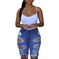 Wholesale Destroyed Jeans Shorts - Free Shipping !Blue White  Black Denim Destroyed Bermuda Shorts Women Ripped Hole Plus Size XXL High Waisted Jeans Short Feminino 78649