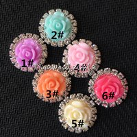 Wholesale Buttons Resin 15mm - 15mm Wholesale-Free shipping 48pcs mix color lot flatback resin rose flower pearl beads metal rhinestone button for scrapbooking,phone deco