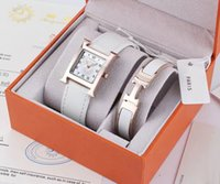Wholesale Bracelets Modern - Modern Top Brand 2 Sets Women Luxury Watch Bracelet With Gift box Rose gold Dresses Wristwatches for lady girls Water Resistant Montre Femme
