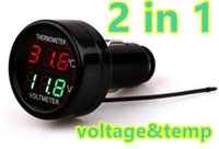 Wholesale voltmeter auto - Digital LED Dual Display Car Battery Monitor Voltmeter Thermometer Auto Temperature Meter 12V 24V 40%off